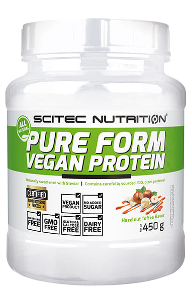 100% Vegan Protein 450 grs. Toffee de Avellana